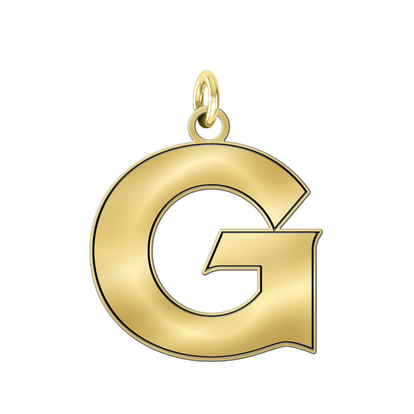 Georgetown Hoyas Solid 14K Yellow Gold Natural Finish Cut Out Logo Charm