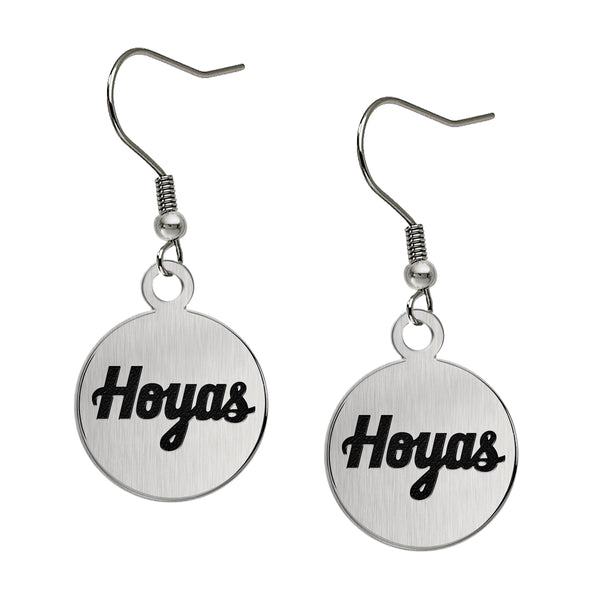 Georgetown Hoyas Stainless Steel Disc Earrings