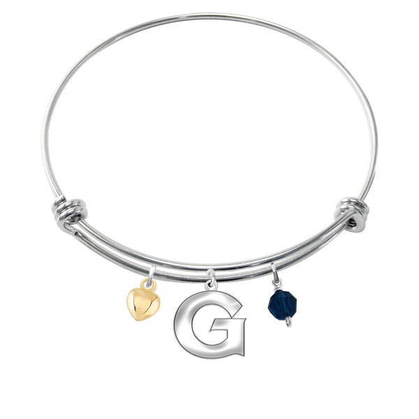 Georgetown University Hoyas Sterling Silver Adjustable Bangle Cutout Charm Bracelet