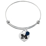 Michigan Wolverines Stainless Steel Adjustable Bangle Bracelet with Heart Charm