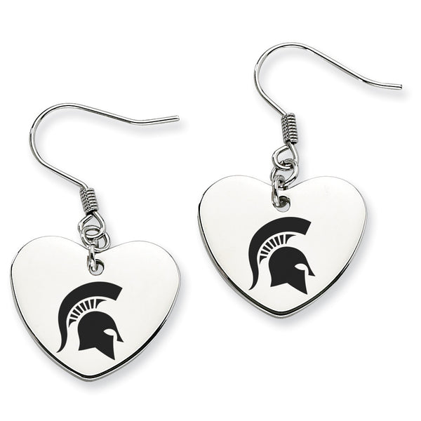 Michigan State Spartans Stainless Steel Heart Earrings