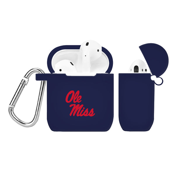 Ole Miss Rebels Silicone Case Cover for Apple AirPod Case - Navy