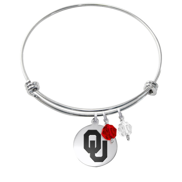 Oklahoma Sooners Stainless Steel Bangle Bracelet with Round Charm