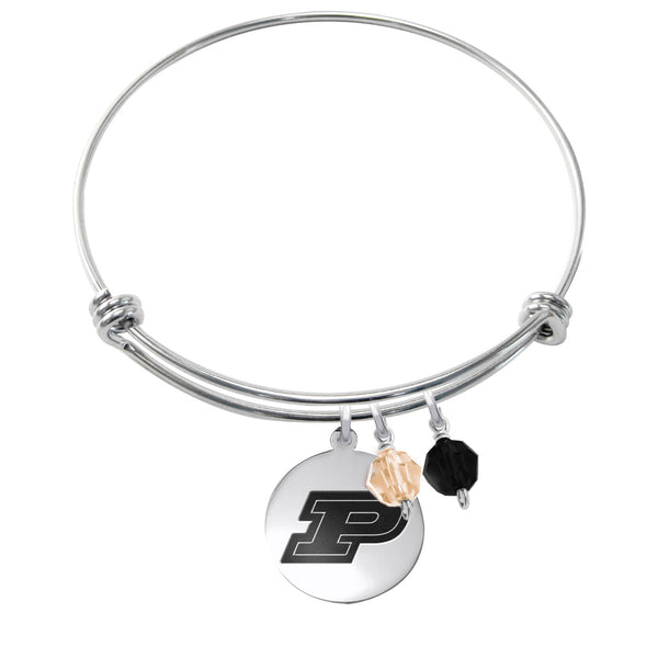 Purdue Stainless Steel Bangle Bracelet with Round Charm
