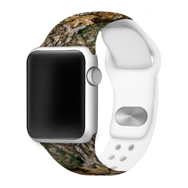 Realtree EDGE Camouflage Silicone Sport Replacement Band for Apple Watches - Patent Pending Dual Pin Clasp For Added Security - CAMO BAND ONLY