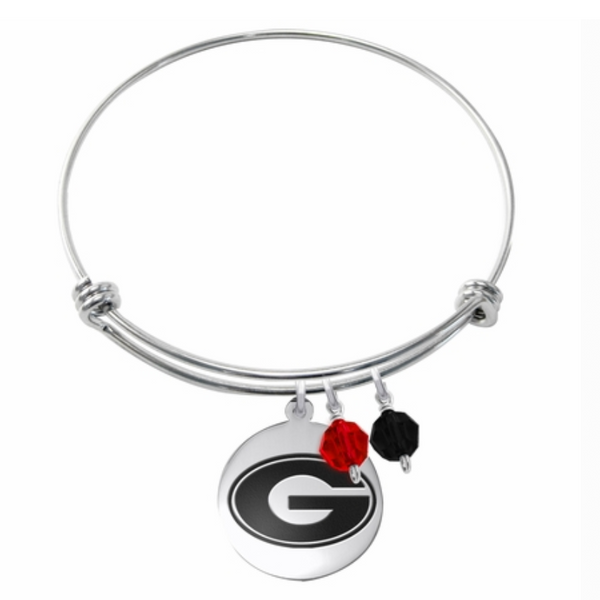 Georgia Bulldogs Stainless Steel Bangle Bracelet with Round Charm