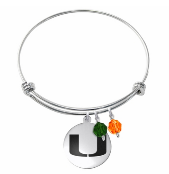 Miami Hurricanes Stainless Steel Bangle Bracelet with Round Charm