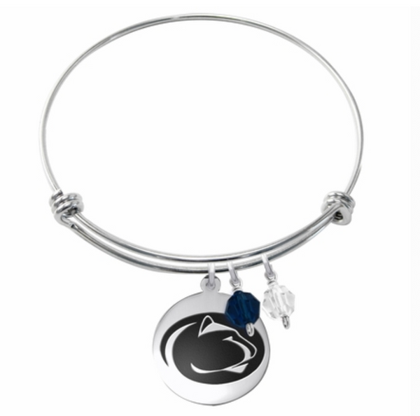 Penn State Nittany Lions Stainless Steel Bangle Bracelet with Round Charm