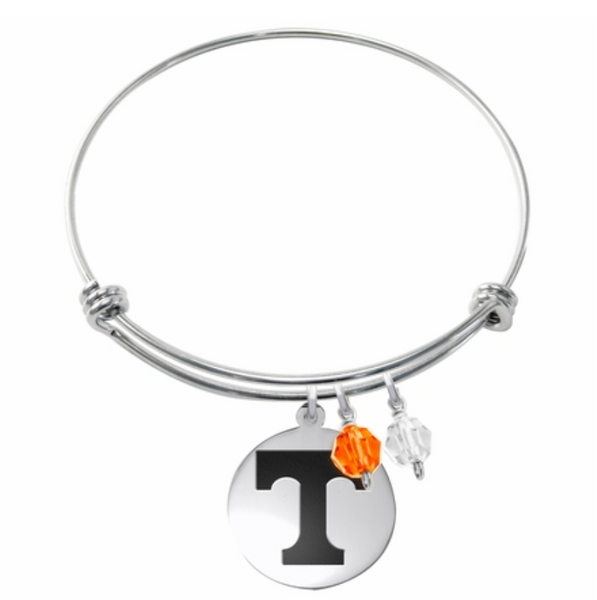 Tennessee Vols Stainless Steel Bangle Bracelet with Round Charm