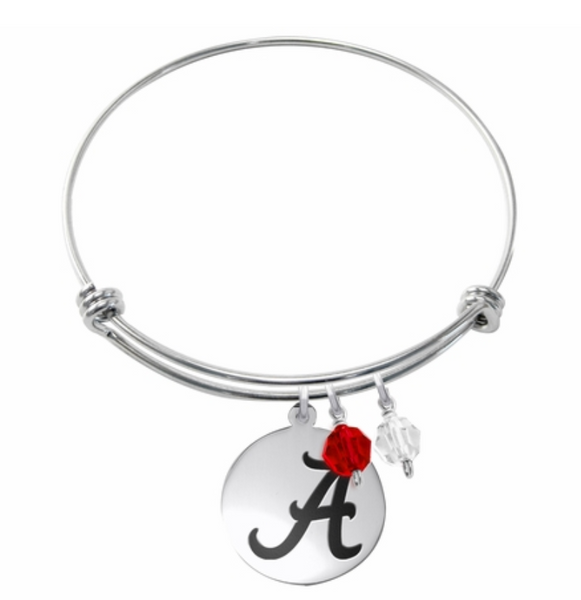 Alabama Crimson Tide Stainless Steel Bangle Bracelet with Round Charm - DealsAmazingDeals.com