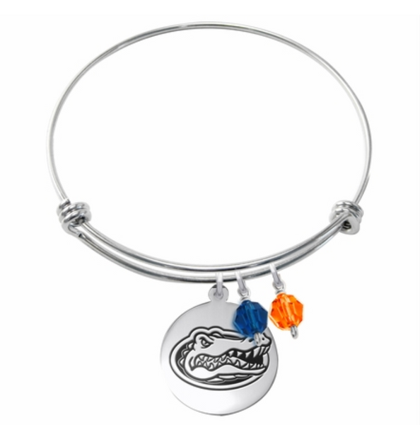 Florida Gators Stainless Steel Bangle Bracelet with Round Charm - DealsAmazingDeals.com