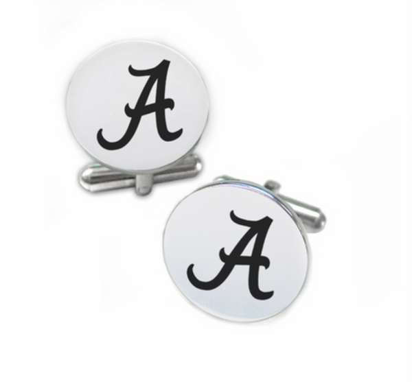 Alabama Crimson Tide Stainless Steel Cufflinks with Round Top - DealsAmazingDeals.com