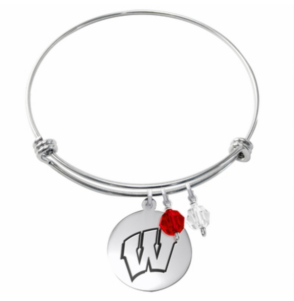 Wisconsin Badgers Stainless Steel Bangle Bracelet with Round Charm