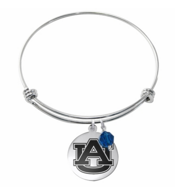 Auburn Tigers Stainless Steel Bangle Bracelet with Round Charm - DealsAmazingDeals.com