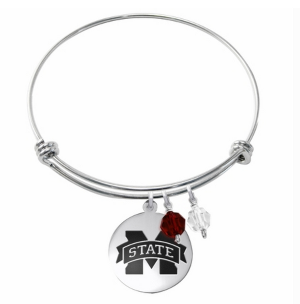 Mississippi State Bulldogs Stainless Steel Bangle Bracelet with Round Charm