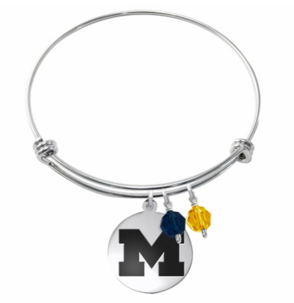 Michigan Wolverines Stainless Steel Bangle Bracelet with Round Charm