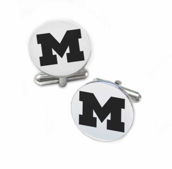 Michigan Wolverines Stainless Steel Cufflinks with Round Top