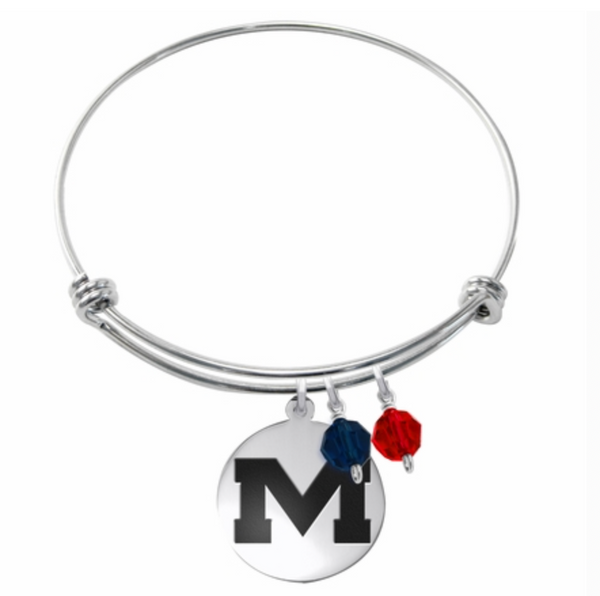 Ole Miss Stainless Steel Bangle Bracelet with Round Charm
