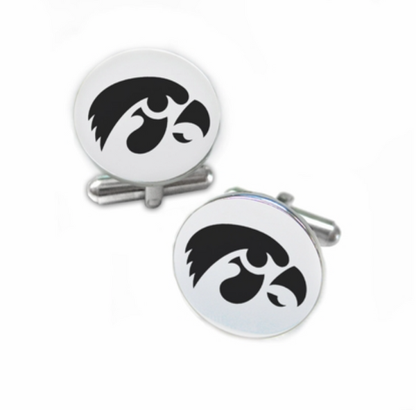 Iowa Hawkeyes Stainless Steel Cufflinks with Round Top - DealsAmazingDeals.com