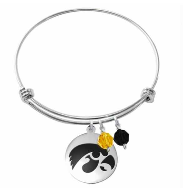 Iowa Hawkeyes Stainless Steel Bangle Bracelet with Round Charm