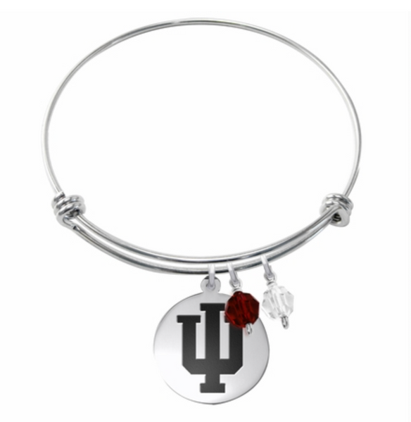 Indiana Hoosiers Stainless Steel Bangle Bracelet with Round Charm - DealsAmazingDeals.com