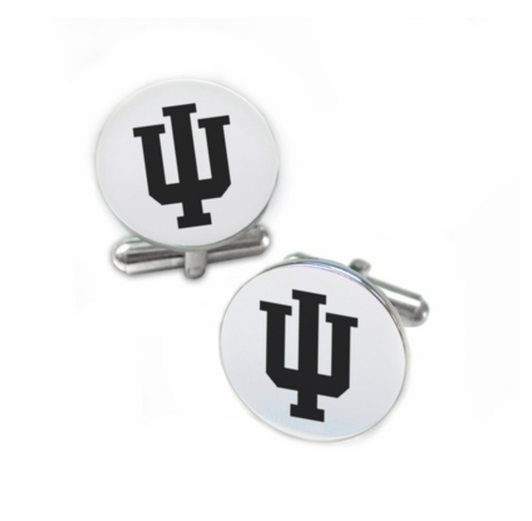 Indiana Hoosiers Stainless Steel Cufflinks with Round Top