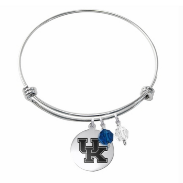 Kentucky Wildcats Stainless Steel Bangle Bracelet with Round Charm