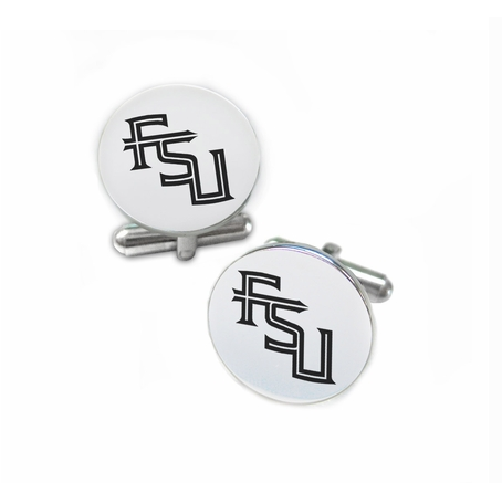 Florida State Seminoles Stainless Steel Cufflinks with Round Top