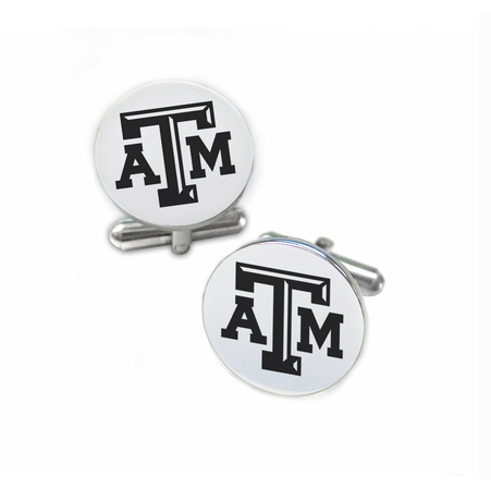 Texas A&M Aggies Stainless Steel Cufflinks with Round Top