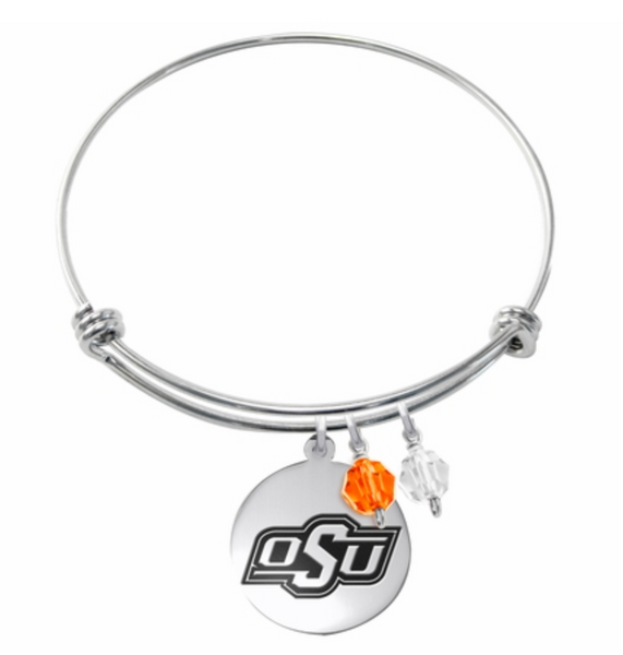 Oklahoma State Cowboys Stainless Steel Bangle Bracelet with Round Charm - DealsAmazingDeals.com