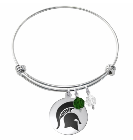 Michigan State Spartans Stainless Steel Bangle Bracelet with Round Charm - DealsAmazingDeals.com