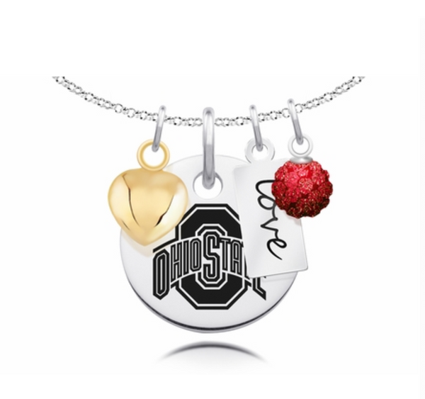 Ohio State Buckeyes Cluster Necklace with Heart, Crystal, and Love
