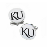 Kansas Jayhawks Stainless Steel Cufflinks with Round Top