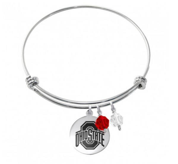 The Ohio State Buckeyes Stainless Steel Bangle Bracelet with Round Charm