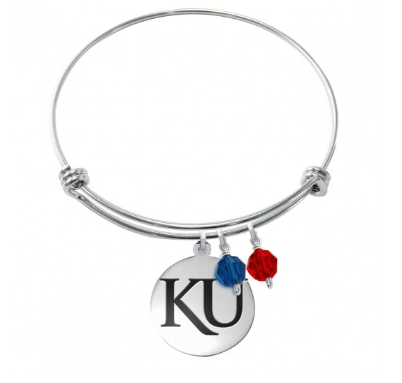 Kansas Jayhawks Stainless Steel Bangle Bracelet with Round Charm