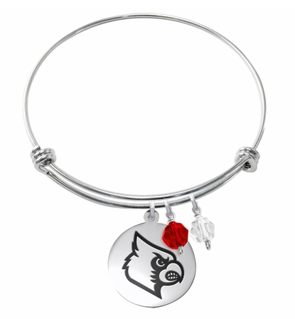 Louisville Cardinals Stainless Steel Bangle Bracelet with Round Charm