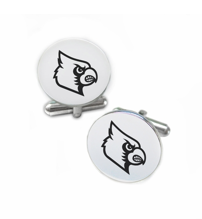 Louisville Cardinals Stainless Steel Cufflinks with Round Top - DealsAmazingDeals.com