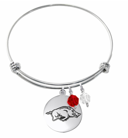 Arkansas Razorbacks Stainless Steel Bangle Bracelet with Round Charm - DealsAmazingDeals.com