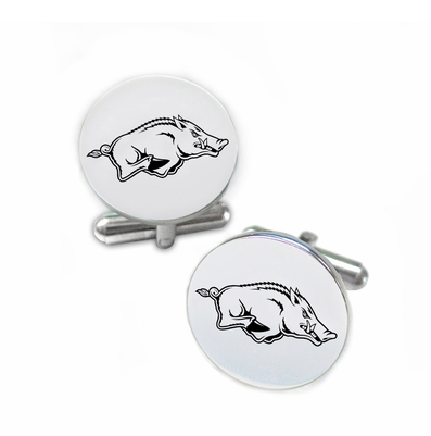 Arkansas Razorbacks Stainless Steel Cufflinks with Round Top - DealsAmazingDeals.com