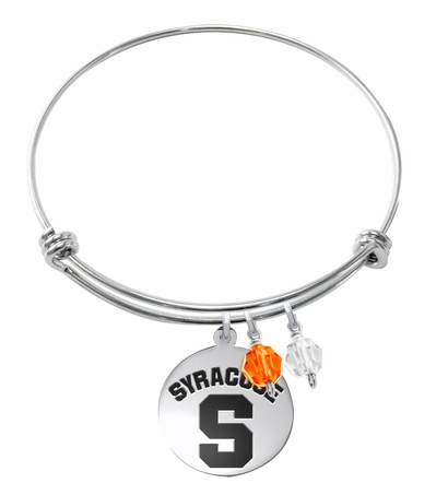 Syracuse Orange Stainless Steel Bangle Bracelet with Round Charm