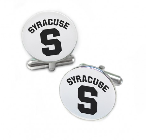 Syracuse Orange Stainless Steel Cufflinks with Round Top