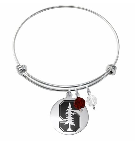 Stanford Cardinal Stainless Steel Bangle Bracelet with Round Charm