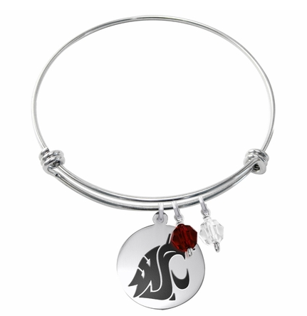 Washington State Cougars Stainless Steel Bangle Bracelet with Round Charm - DealsAmazingDeals.com