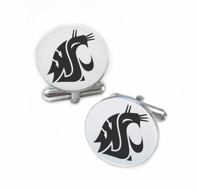 Washington State Cougars Stainless Steel Cufflinks with Round Top