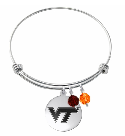 Virginia Tech Hokies Stainless Steel Bangle Bracelet with Round Charm