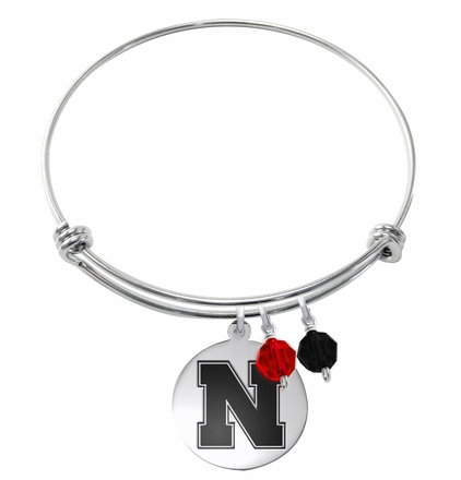Nebraska Cornhuskers Stainless Steel Bangle Bracelet with Round Charm