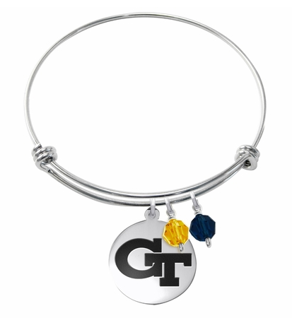 Georgia Tech Yellow Jackets Stainless Steel Bangle Bracelet with Round Charm