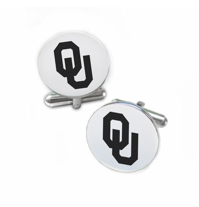 Oklahoma Sooners Stainless Steel Cufflinks with Round Top