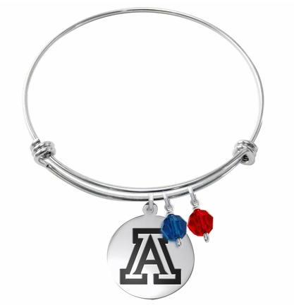 Arizona Wildcats Stainless Steel Bangle Bracelet with Round Charm - DealsAmazingDeals.com