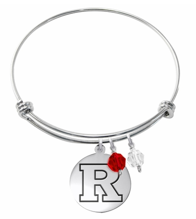 Rutgers Scarlett Knights Stainless Steel Bangle Bracelet with Round Charm - DealsAmazingDeals.com